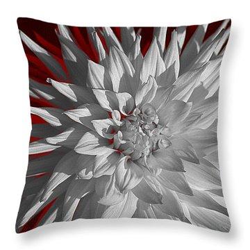White Dahlia Throw Pillow