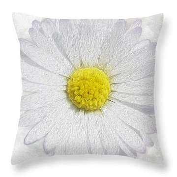 White Daisy On White Throw Pillow by Jon Neidert
