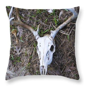 White Deer Skull In Grass Throw Pillow
