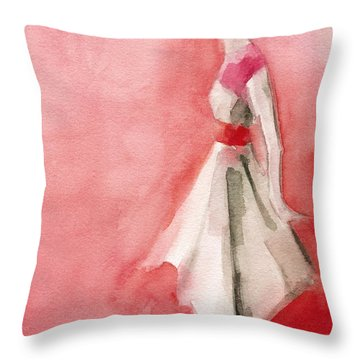 White Dress With Red Belt Fashion Illustration Art Print Throw Pillow by Beverly Brown