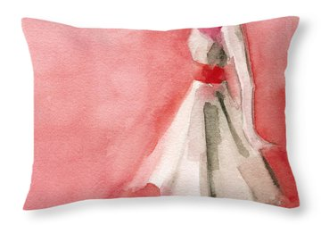 White Dress With Red Belt Fashion Illustration Art Print Throw Pillow by Beverly Brown Prints
