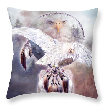 White Eagle Dreams 2 Throw Pillow by Carol Cavalaris