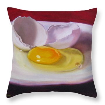 White Egg Study Throw Pillow by LaVonne Hand
