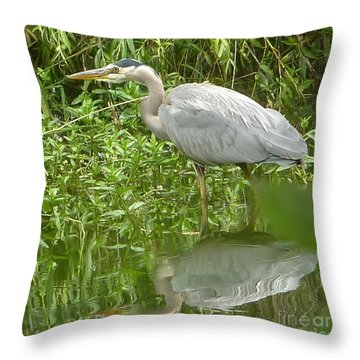 Throw Pillow featuring the photograph White Egret Double  by Susan Garren