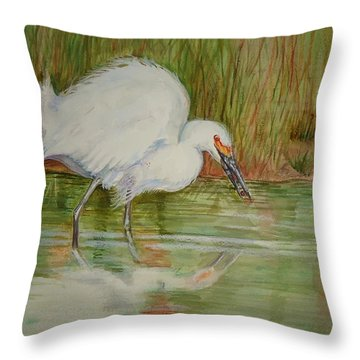 White Egret Wading  Throw Pillow
