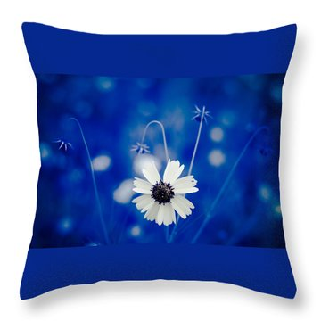White Flower Throw Pillow by Darryl Dalton