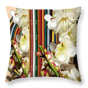 White Flower Medley Colorful Rainbow Stripes On The Backdrop Artist Navinjoshi  Throw Pillow by Navin Joshi