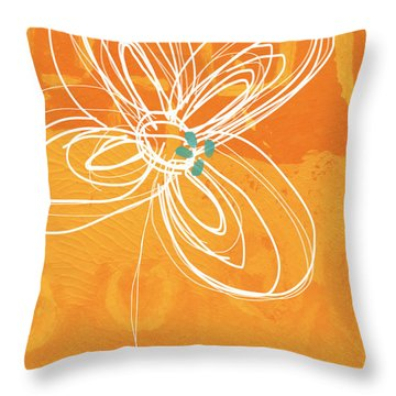 White Flower On Orange Throw Pillow