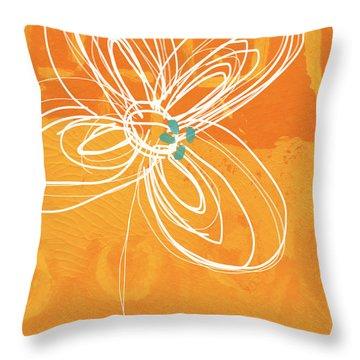 White Flower On Orange Throw Pillow by Linda Woods