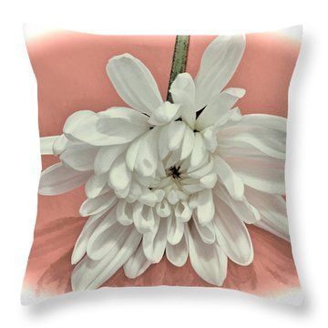 White Flower On Pale Coral Vignette Throw Pillow
