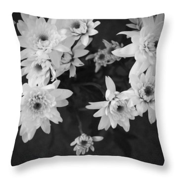 White Flowers- Black And White Photography Throw Pillow