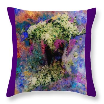 White Flowers In A Vase Throw Pillow by Lee Green
