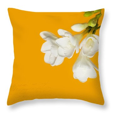 Throw Pillow featuring the photograph White Flowers On Tangerine Study by Lisa Knechtel