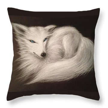 Throw Pillow featuring the drawing White Fox by Patricia Lintner