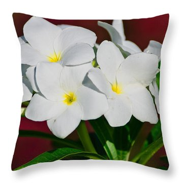 White Frangipani Throw Pillow