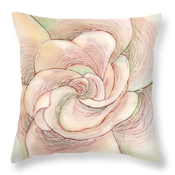 Throw Pillow featuring the painting White Gardenia 1 by Anna Skaradzinska