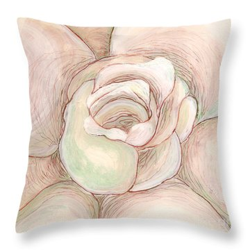 Throw Pillow featuring the painting White Gardenia 2 by Anna Skaradzinska
