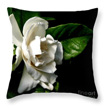 Throw Pillow featuring the photograph White Gardenia by Rose Santuci-Sofranko