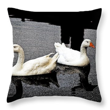 White Geese Throw Pillow