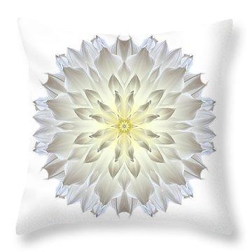 Giant White Dahlia I Flower Mandala White Throw Pillow