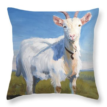 White Goat Throw Pillow