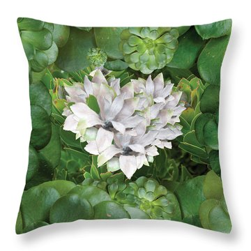 White Green Flower Throw Pillow by Alixandra Mullins