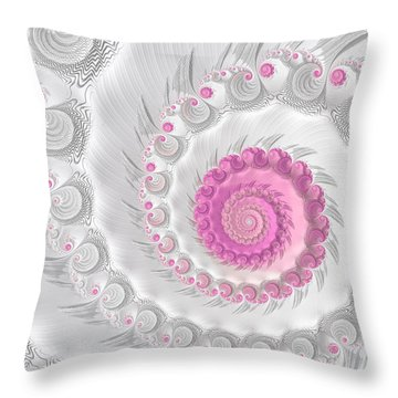 White Grey And Pink Fractal Spiral Art Throw Pillow