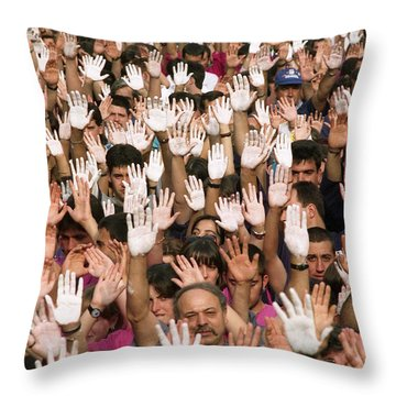 White Hands  - Manos Blancas Throw Pillow by Rafa Rivas