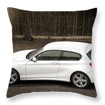 White Hatchback Car Throw Pillow