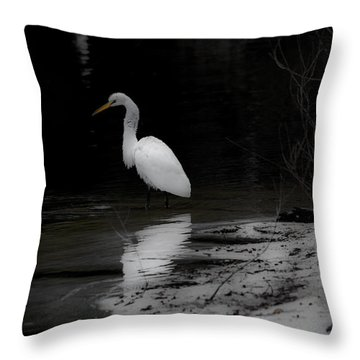 White Heron Throw Pillow