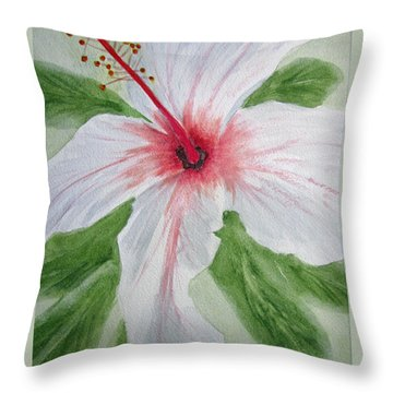 White Hibiscus Flower Throw Pillow by Elvira Ingram