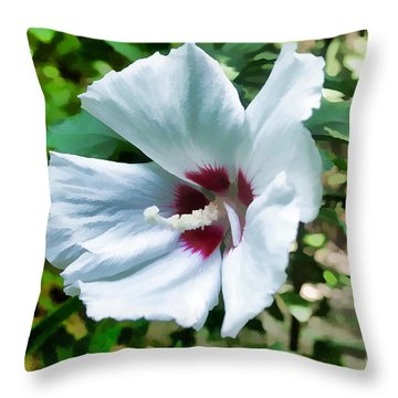 White Hibiscus From Missouri Botanical Gardens Throw Pillow by Luther   Fine Art