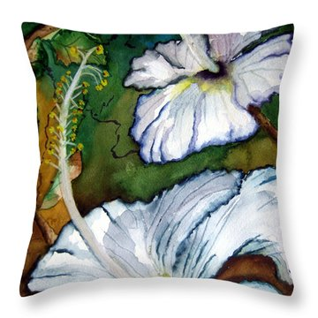 Throw Pillow featuring the painting White Hibiscus by Lil Taylor