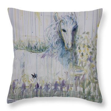 Throw Pillow featuring the painting White Horse In The Rain by Avonelle Kelsey
