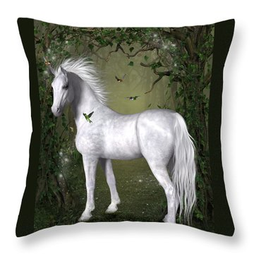 White Horse In The Woods Throw Pillow