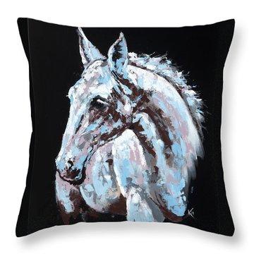 White Horse Throw Pillow