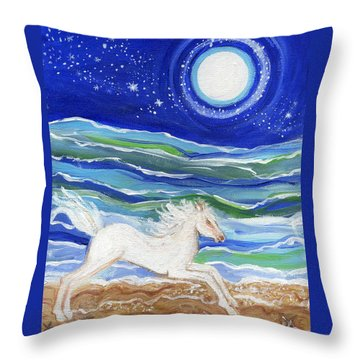 White Horse Of The Sea Throw Pillow