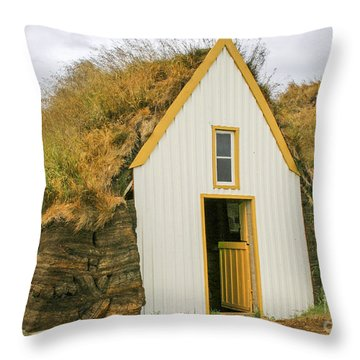 White House Covered In Grass Throw Pillow