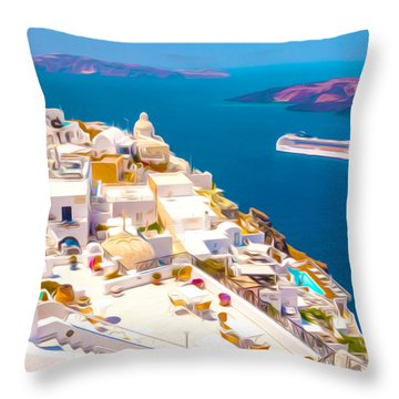 White Houses Of Santorini Throw Pillow by Lanjee Chee