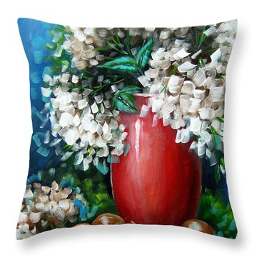 Throw Pillow featuring the painting White Hydrangeas by Patrice Torrillo