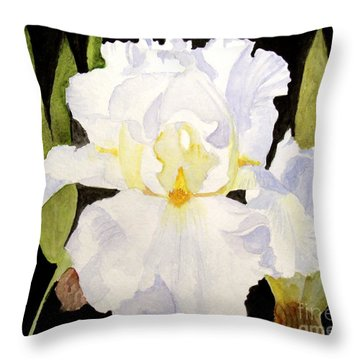 White Iris In The Garden Throw Pillow