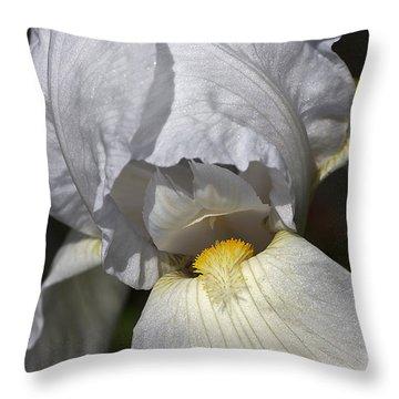 White Iris Throw Pillow by Joy Watson