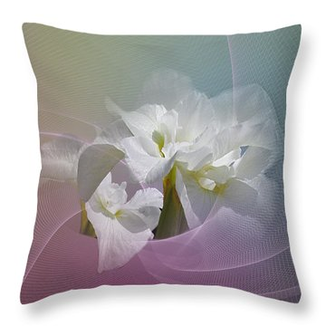 Throw Pillow featuring the photograph White Iris by Judy  Johnson