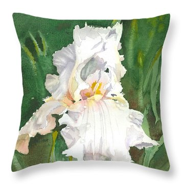 White Iris Throw Pillow by Spencer Meagher