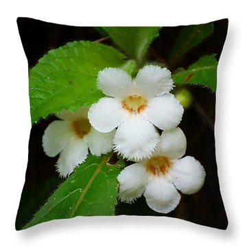 White Jungle Wildflower Throw Pillow