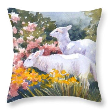 White Lambs In Scotland Throw Pillow