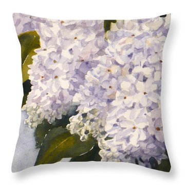 White Lilacs Throw Pillow