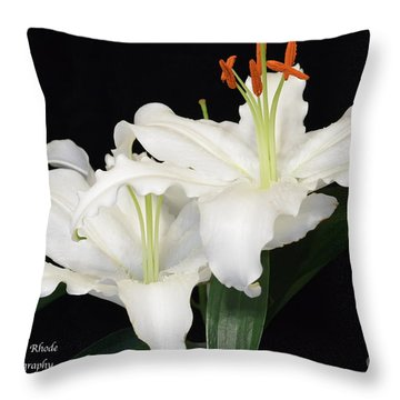 Throw Pillow featuring the photograph White  Lilies by Jeannie Rhode