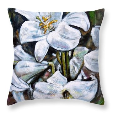 Throw Pillow featuring the painting White Lillies 240210 by Selena Boron