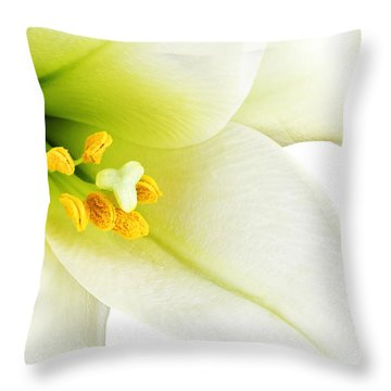 White Lilly Macro Throw Pillow